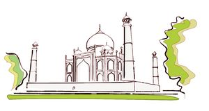 Taj sideview. Sketch view of the beautiful Taj Mahal from an angle Stock Photos