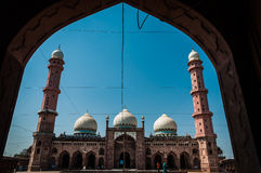 Taj ul Mosque, Bhopal, India. A framed view of Taj ul Mosque, Bhopal, India royalty free stock photo