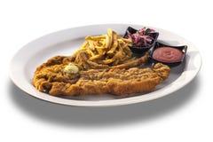 Tajada de cordero deliciosa con las patatas fritas, la salsa picante y el oni fresco Foto de archivo