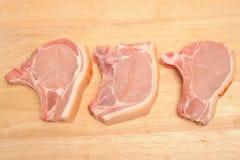 Tajadas de cerdo Fotografía de archivo