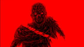 Tajado por el monstruo de los zombis de la espada Color de fondo rojo ilustración del vector