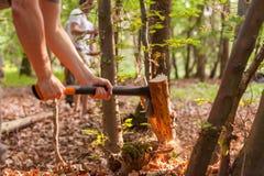 Tajar la madera con un hacha Imagenes de archivo