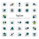 TajCoin Crypto Currency icons set. For web design and application interface, also useful for infographics. Vector illustration Royalty Free Stock Images