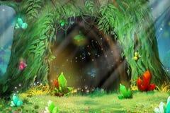 Tajemnicy Drzewna dziura Wideo gier Cyfrowego CG grafika royalty ilustracja