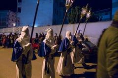 Tajemnicy i penitenci w wieczór korowodzie na Świętym Piątku Zdjęcia Royalty Free