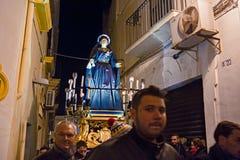 Tajemnicy i penitenci w wieczór korowodzie na Świętym Piątku Zdjęcie Royalty Free