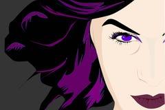 Tajemnicza dziewczyna z magnesowymi fiołkowymi oczami ilustracja wektor
