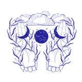 Tajemnicza księżyc w ręki ilustracji, ezoteryka znak, magiczny życie Rocznika stary styl, grafiki linia w Bia?ym tle ilustracji