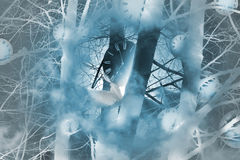 Tajemniczy czasów zegary w lesie Obraz Royalty Free