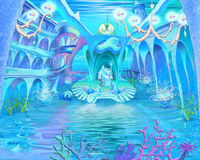 Tajemniczy i fantazja Podmorski świat Podwodny Grodowy Interio royalty ilustracja
