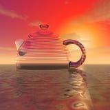 Tajemniczy ogromny szklany teapot ilustracja wektor