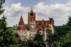 Tajemniczy piękny otręby kasztel Wampir siedziba Dracula w lasach Rumunia obrazy stock