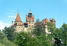 Tajemniczy piękny otręby kasztel Wampir siedziba Dracula w lasach Rumunia obraz stock