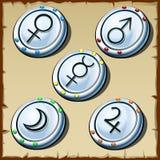 Tajemniczy podpisuje wewnątrz round formę, pięć element royalty ilustracja