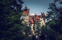 Tajemniczy romantyczny otręby kasztel Wampir siedziba Dracula w lasach Rumunia zdjęcie stock
