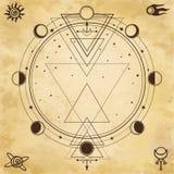 Tajemniczy tło: święta geometria, fazy księżyc royalty ilustracja