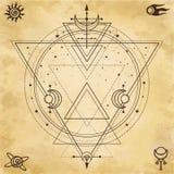 Tajemniczy tło: święta geometria, okręgi, trójboki, gra główna rolę ilustracja wektor
