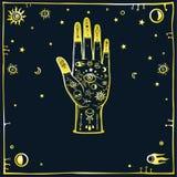 Tajemniczy tło: stylizowana ludzka ręka dekoruje z alchemical śpiewa, astronautyczni symbole Złocista imitacja ilustracja wektor