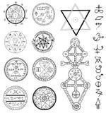 Tajemniczy ustawiający z magicznymi okręgami, pentagramem i symbolami, royalty ilustracja
