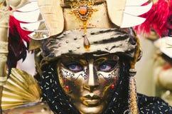 Tajemniczy złoty maskowy Wenecki Zdjęcia Royalty Free