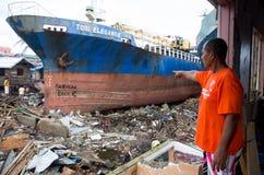 Tajfunu Haiyan ocalały Zdjęcia Stock