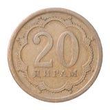 Tajik coin. Tajik twenty diram on a white background Royalty Free Stock Image