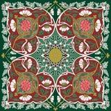 Tajik folk art bandanna design. Kaleidoscopic symmetry in abstract florid designs typical of Uzbekistan and Afghanistan, with Iranian and Islamic influences Stock Photos