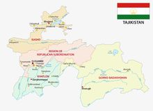 Tajikistan administrative and political vector map with flag.  Royalty Free Stock Photo