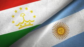 Tajikistan and Argentina two flags textile cloth, fabric texture. Tajikistan and Argentina flags together textile cloth, fabric texture vector illustration