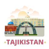 Tajikistan country design template Flat cartoon st. Tajikistan country badge fridge magnet whimsical design template. Flat cartoon style historic sight showplace