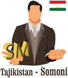 Tajikistan currency symbol somoni representing money and Flag. Stock Photo