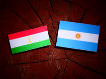 Tajikistan flag with Argentinian flag on a tree stump  Stock Photography