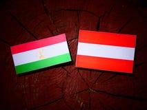 Tajikistan flag with Austrian flag on a tree stump  Stock Photography