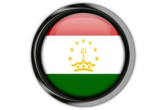 Tajikistan  flag in the button pin Isolated on White Background Stock Image