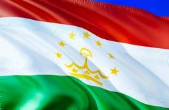 Tajikistan flag. 3D Waving flag design. The national symbol of Tajikistan, 3D rendering. National colors and National CIS flag of. Tajikistan for a background royalty free stock images