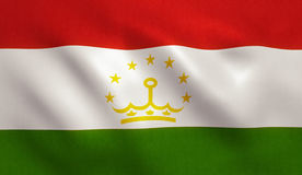 Tajikistan Flag. With fabric texture. 3D illustration Stock Images