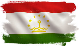 Tajikistan Flag. With fabric texture. 3D illustration Royalty Free Stock Photography