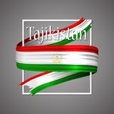 Tajikistan flag. Official national colors. Tajikistan`s 3d realistic stripe ribbon. Vector icon sign background. Tajikistan flag. Official national colors Royalty Free Stock Image