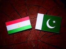 Tajikistan flag with Pakistan flag on a tree stump isolated. Tajikistan flag with Pakistan flag on a tree stump stock illustration