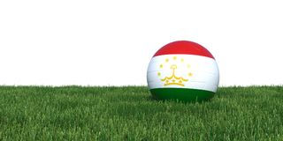 Tajikistan flag soccer ball lying in grass Royalty Free Stock Images