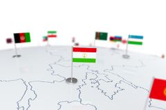 Tajikistan flag. Country flag with chrome flagpole on the world map with neighbors countries borders. 3d illustration rendering flag Royalty Free Stock Photos