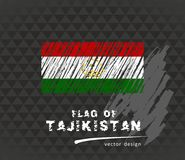 Tajikistan flag, vector sketch hand drawn illustration on dark grunge background. Vector sketch map of Tajikistan with flag, hand drawn chalk illustration Royalty Free Stock Photos