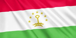 Tajikistan flag waving with the wind. Tajikistan flag waving with the wind, wide format, 3D illustration. 3D rendering Stock Photo