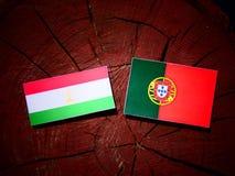 Tajikistan flaga z portugalczyk flaga na drzewnym fiszorku odizolowywającym Zdjęcia Royalty Free