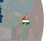 Tajikistan with its flag. Map of Tajikistan with its flag on globe. 3D illustration Royalty Free Stock Photos