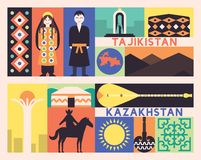 Tajikistan Kazachstan set royalty ilustracja