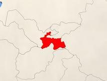 Tajikistan on map Royalty Free Stock Photography
