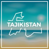 Tajikistan map rough outline against the backdrop. Stock Photography