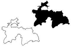 Tajikistan map vector Stock Photos