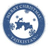Tajikistan map. Vintage Merry Christmas. Tajikistan map. Vintage Merry Christmas Tajikistan Stamp. Stylised rubber stamp with county map and Merry Christmas Stock Photos